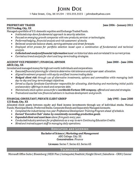 Resume Portfolio by Portfolio Manager Resume Exle Financial Advisor