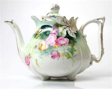 Antique Porcelain Teapot Unmarked Rs Prussia By