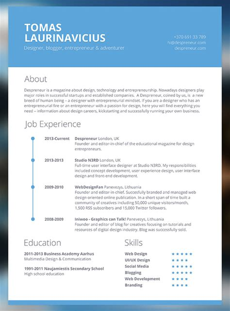 Sle Modern Resume Templates by 28 Free Cv Resume Templates Html Psd Indesign Web Graphic Design Bashooka