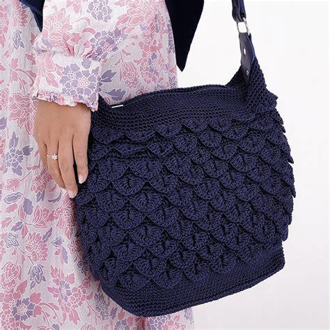 jual shoulder bag rajut blue donker murah just 170rbu