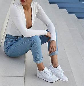 Jeans bodysuit white top white sneakers sneakers denim tumblr tumblr outfit tumblr girl ...