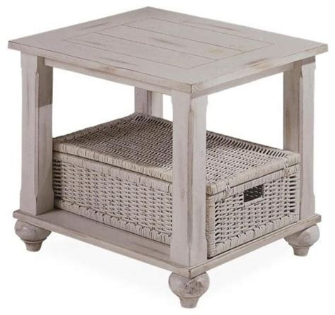 side table with baskets treasures end table in white with wicker basket