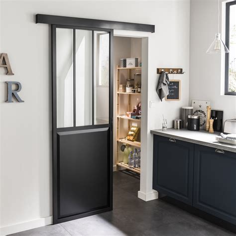 porte de cuisine coulissante ensemble porte coulissante atelier aluminium verre clair mdf revêtu aluminium av leroy merlin