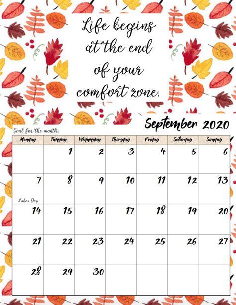 printable  monday start monthly motivational calendar