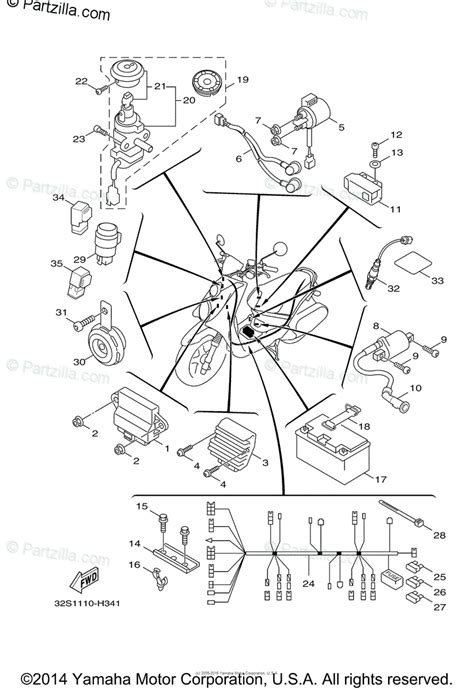 yamaha scooter 2015 oem parts diagram for electrical 1