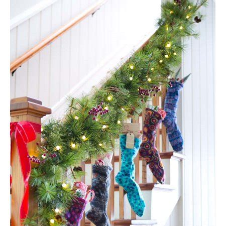 best outdoor battery or solar christmas garland lights lighted outdoor battery operated garland w auto timer walmart