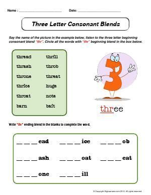 worksheet  letter consonant blends beginning
