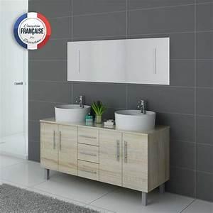 Meuble Salle De Bain Asymétrique : meuble de salle de bain double vasque scandinave dis989sc ~ Nature-et-papiers.com Idées de Décoration