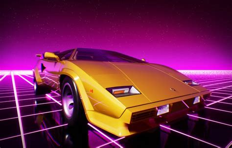 wallpaper lamborghini machine graphics neon countach