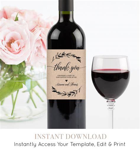 wedding wine bottle label printable wine label template