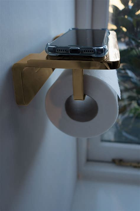 spa gold toilet roll holder phone shelf gold accessories