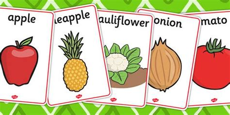 #vocabulary #flashcards Of #food Fruits And Vegetables  Retirement Party Pinterest