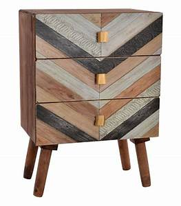 Table De Chevet Bois : table de chevet bois motifs 3 tiroirs ~ Teatrodelosmanantiales.com Idées de Décoration