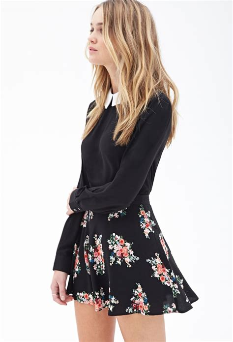 Floral Print Skater Skirt #F21StatementPiece   School outfits   Pinterest   Skirts Casual ...