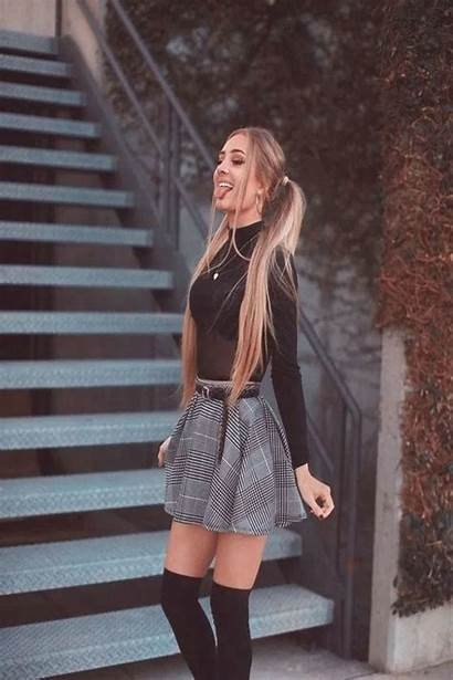 Plaid Outfits Outfit Fall Skirt Mini Night