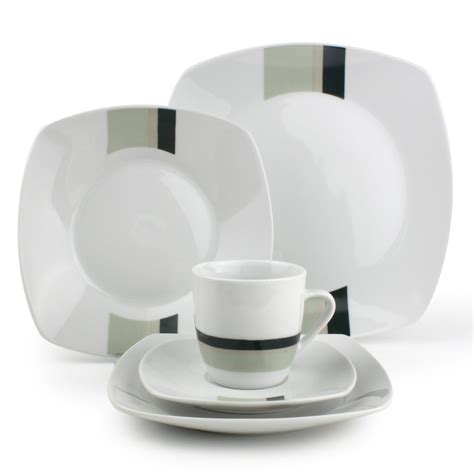 service de table en porcelaine blanc rayures vertes 30 pi 232 ces square yong port offert