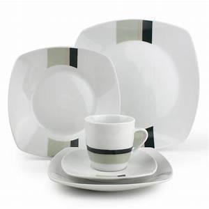 Service De Vaisselle : service de table en porcelaine blanc rayures vertes 30 ~ Voncanada.com Idées de Décoration