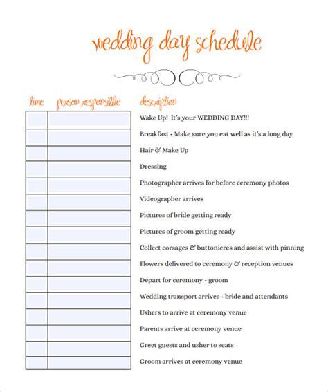 sample wedding schedules   ms word