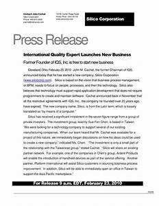 ceo press release template - international quality expert launch new business 022310