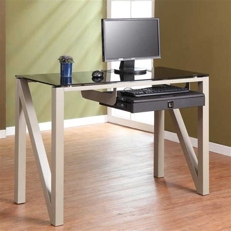 small glass top computer desk glass computer desk for elegant appearance