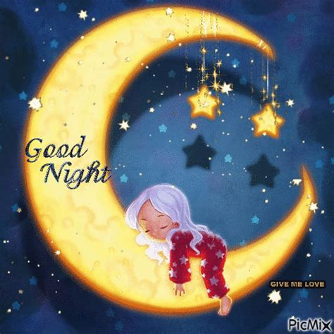 crescent moon good night gif pictures   images
