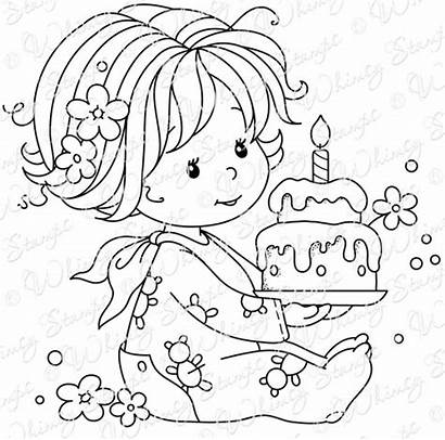Birthday Stamps Whimsy Coloring Stamp Rubber Happy
