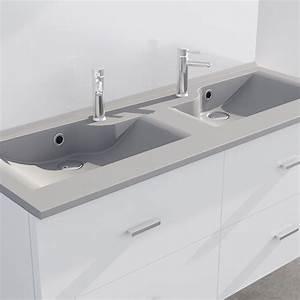 Double Vasque 140 Cm : plan double vasque design gris r siloge 140 cm cuisibane ~ Melissatoandfro.com Idées de Décoration