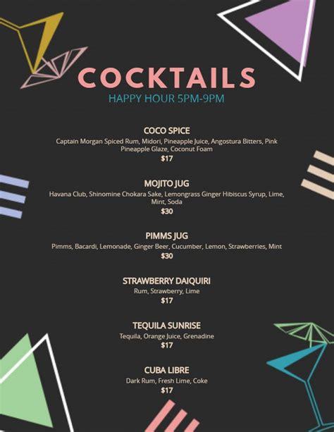 printable drink menu template black menu template