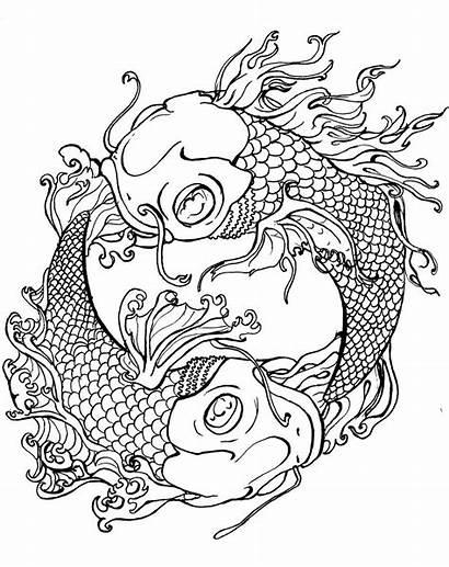 Coloring Tattoo Adult Adults Yang Yin Fish