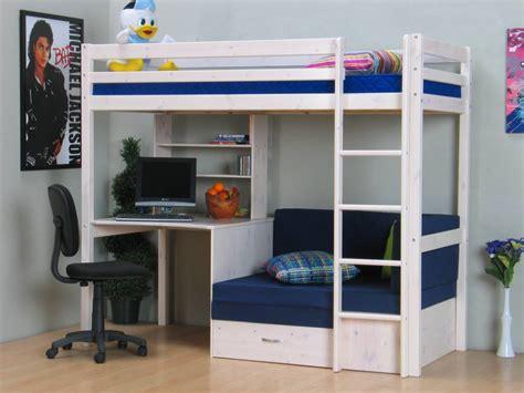 bureau u thuka hoogslaper wit met bureau bank en kussenset blauw thuka