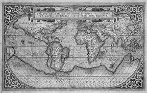 B&W HUGE historic 1589 WORLD MAP OLD ANTIQUE STYLE WALL ...