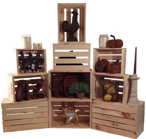 Stacking Shelf by Stacking Crates Set Of 3 Rustic Wood Display Shelf