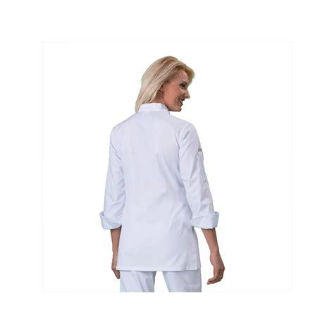 veste cuisine femme blanc et blanc manches longues label