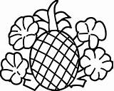 Pineapple Coloring Pages Cartoon Fruits Outline Flowers Getdrawings Drawing Vegetables Pea Potatoes Line sketch template
