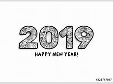 2019 Lettering, Happy New Year Greeting Calendar Front