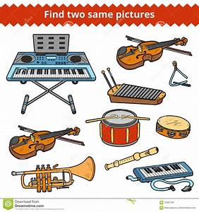 Find Two Same Pictures. Vector Set Of Musical Instruments ...
