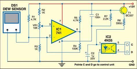 Dew Sensor Project Detailed Circuit Diagram Available