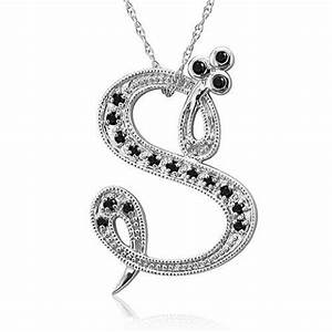 14k white gold alphabet initial letter s black diamond With letter k diamond pendant