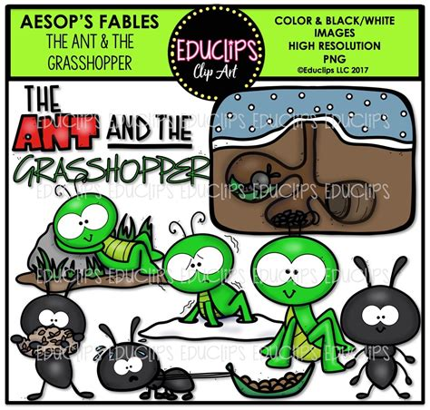 the ant and the grasshopper clip bundle color and b w