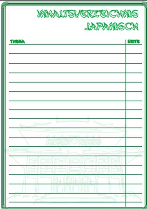 inhaltsverzeichnis japanisch ausdrucken