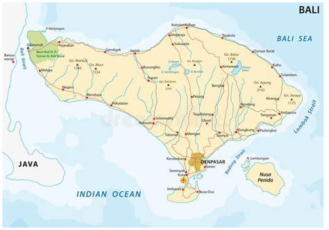 road map   indonesian island  bali stock vector