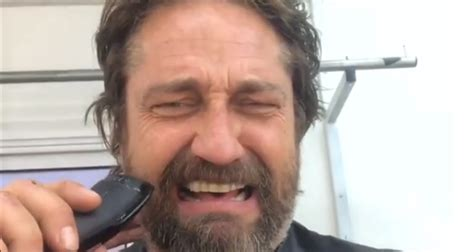 beard shaving gerard butler freaks out while his beard now gerard butler just jared