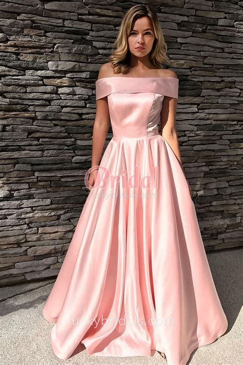 Lustrous Pink Satin Off-the-shoulder Floor-length Simple Prom Dress - LuckyBridals