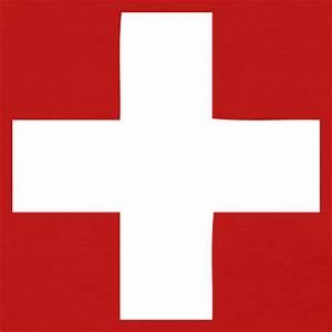White cross logo red square