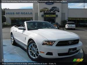 Performance White - 2010 Ford Mustang V6 Premium Convertible - Charcoal Black Interior ...
