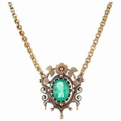 Necklace Emerald 1stdibs Pendant Victorian Carat Oval