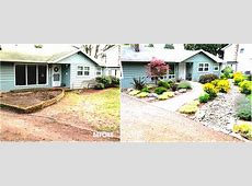 Front Side Yard Small House Design With Various Garden