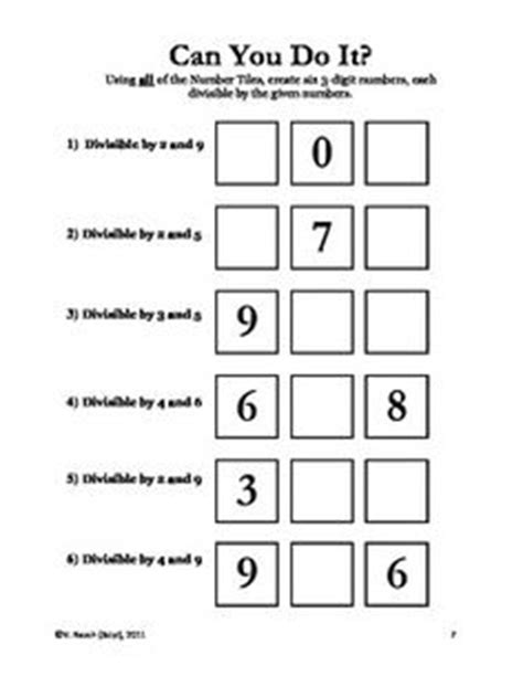 number tiles divisibility rules