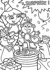 Coloring Dora Birthday Surprise Explorer Boots Friend Happy Tocolor Parties Cake Friends Printable Getcolorings Preschool Netart sketch template