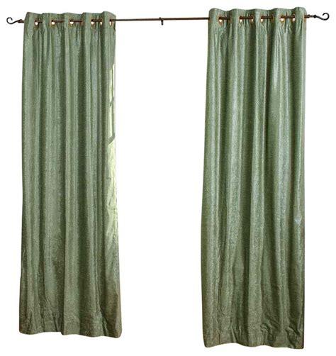 olive green ring grommet top velvet curtain drape